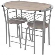 vidaXL Tavolino E Sgabelli Per Colazione In Legno Truciolato