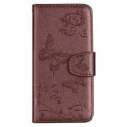 GadgetBay Étui portefeuille iPhone en cuir à motif floral papillon pour iPhone XR - Pasjes Spiegel Bruin