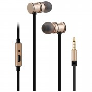 AV: Link Metallic Magnetic Stereo Noise Cancelling Earphones with Tangle Free Cable - Gold