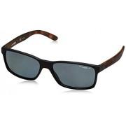 ARNETTE An4185 Slickster anteojos de sol rectangulares para hombre, Color negro y gris polarizado., 59 mm