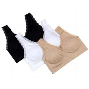 Women Set of 3 Lace Genie Bra White, Nude, Black (L, Lace)