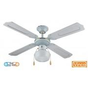 Agitatore/Ventilatore da soffitto in legno laccato bianco 1 lampada Vinco - 70912