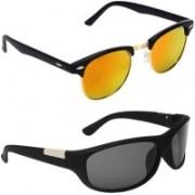 Royalmede Clubmaster, Wrap-around Sunglasses(Multicolor, Black)