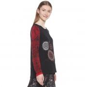 DESIGUAL Langärmelige Bluse, runder Ausschnitt und grafisches Muster