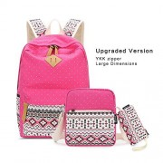 Upgraded Imyth Bohemia Cute Backpack Casual School Bag Daypack Travel Bag for Girls with YKK Zipper (Large Rose3)