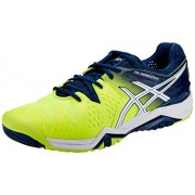 Asics Men's Gel-Resolution 6 Safety Yellow, White and Poseidon Tennis Shoes - 6 UK/India (40 EU)(7 US)