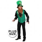 Geen Big size Verkleed Paricks Day leprechaun vest voor heren