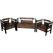 Shilpi Amazing Wrought Iron Wooden Foldable Sofa Set / Beautiful Hand Carving Black Brown Sofa Set For Living Room