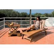 giardini del re Lounger Lettino Prendisole Da Giardino In Legno Balau Cm 196x73x33h Con Ruote - Lounger