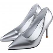 Zapatos De Tacón Alto Pointed Toe Ladies Thin High Heel Shoes-Plateado