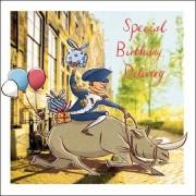 verjaardagskaart woodmansterne - special birthday delivery - neushoorn