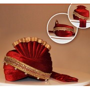Wedding Wear Maroon Velvet Turban Groom - 72518