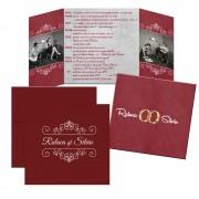 Invitatie de nunta, culoare grena, personalizata cu doua fotografii