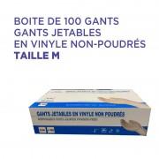 Gants jetable en vinyle non-poudrés taille M : Boite de 100