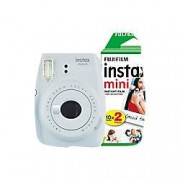 Fuji Instant Camera Instax Mini 9 Smoky White + 1 x 20 shot mini film pack