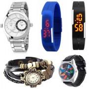 Jack Klein Combo Of 5 Analog Digital Round Wrist Watches