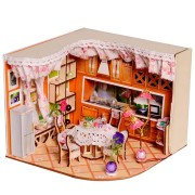 Merry Puzzle Sweet Home Habitat Room DIY Dollhouse Kit With LED Light Wood Decoration