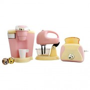 Play Go Pretend Play Gourmet Kitchen Appliance Set Single Serve Coffee Maker, Mixer & Toaster, 3 Piece, Pink