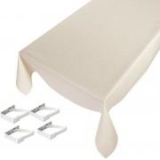 Geen Tafelkleed/tafelzeil creme schubben 140 x 245 cm met 4 klemmen
