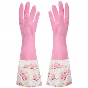 Creative Hand Protection Waterproof Velvet Long Glove Print Floral Gloves