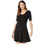 ToadCo Daisy Rib Long Sleeve Henley Dress Black