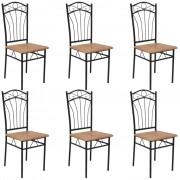 vidaXL Dining Chairs 6 pcs Brown