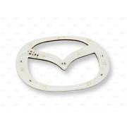 Эмблема со светодиодной подсветкой Mazda красного и белого цвета «126x100»