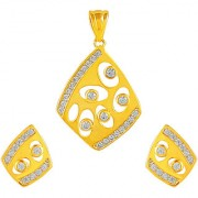 92.5 Sterling Silver Cubic Zirconia Studded Kite Pendant Earrings Set for Women and Girls (Gold/ Silver)