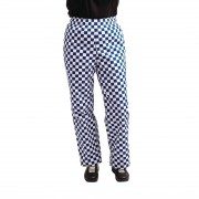Whites Chefs Clothing Whites Easyfit Trousers Teflon Big Blue Check XS Size: XS