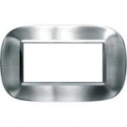 > Axolute - placca ellittica Acciai Alessi in metallo 4 posti colore inox spazzolato alessi