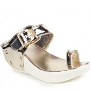 London Steps Women Golden Wedges