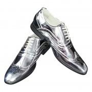 Merkloos Disco veterschoenen zilver voor heren 41 - Verkleedschoenen