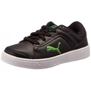 Puma Unisex Skool Jr Ind. Black and Poison Green Sneakers - 2C UK