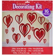 Amscan Blushing Valentine's Day 3D Heart Hanging Foil Party Decoration