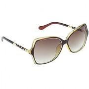 Hrinkar Brown Mirrored Rectangular Unisex Sunglasses