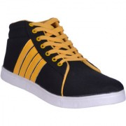 Sukun MenS Black Yellow Casual Lace-Up Shoes (ADD333BKY)