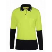 Ladies Long Sleeve Lime Hi-Vis Polo