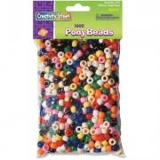 Pony Beads Assorted Bright Colors, 1, 000 Beads Per Pack(Sold In Packs Of 3)