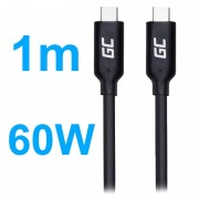 Green Cell Power Delivery Type-C Cable - 60W, 1m - Black