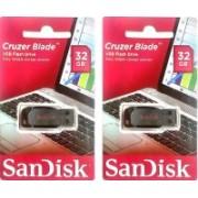 SanDisk Cruzer Blade 32 GB PENDRIVE (PACK OF 2 PENDRIVE) 32 GB Pen Drive(Black)