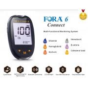 Sistem multifunctional de monitorizare Fora 6 Connect (GD82) - Analizor Glicemie (BG), Hematocrit (HCT), Hemoglobina (HB), β-cetone (KB), Acid uric (UA), Colesterol total (TCH)