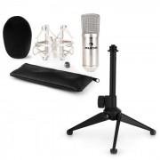 CM001S Set Microfono V1 - Microfono Da Studio Color Argento Con Ragno & Supporto Da Tavolo