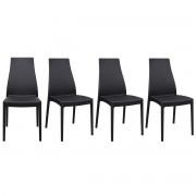 Miliboo Stapelbare Design-Stühle für innen und außen schwarz (4er-Satz) CONDOR