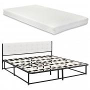 [en.casa]® Kovová postel AANB-0703 + matrace HKSM 180 x 200 cm