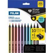 Set 10 Creioane Color MILAN Maxi Ergo Corp din Lemn Negru 10 Culori Diferite si Ascutitoare Inclusa Set Creioane Colorate