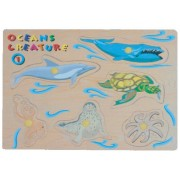 Puzzled Peg Puzzle Large Ocean Creatures 1 Wooden Toys