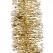 Geen 5x Gouden kerstversiering folie slingers met sneeuw 200 cm