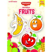 EduQuest - Jigsaw Puzzle - Fruits - 2-4 years old - Set of 3 puzzles - 2,3,4 piece puzzles - Banana (2 pieces), Orange (3 pieces), Apple (4 pieces)