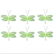 "Dragonfly Decor 2"" Green Mini (X-Small) Glitter Nylon Dragonflies 6pc set. Decorate Baby Nursery Bedroom, Girls Room Ceiling Wall Decor, Wedding, Birthday Party, Bridal Baby Shower, Bathroom. Decorations for Crafts, Scrapbooks, Invitations, Parties"