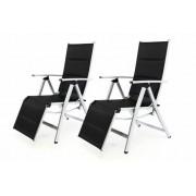 Készlet tartalmaz 2 DELUXE kerti széket, állítható lábtámaszal - fekete